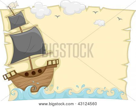 Background Illustration of a Pirate Ship sailing on the sea tossed by waves