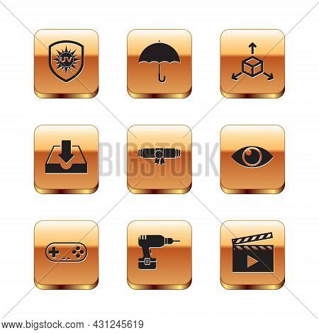 Set Uv Protection, Gamepad, Drill Machine, Diploma Rolled Scroll, Download Inbox And Isometric Cube
