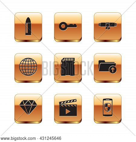 Set Bullet, Diamond, Movie Clapper, Sd Card, Earth Globe And Diploma Rolled Scroll Icon. Vector