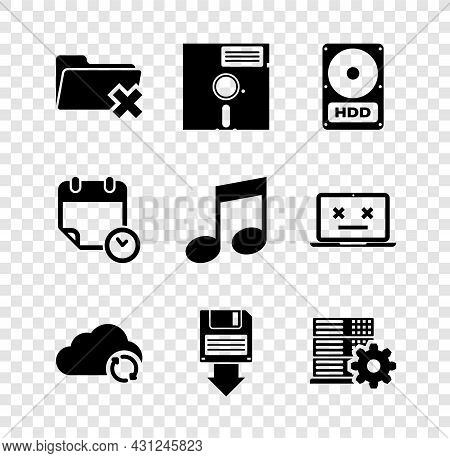 Set Delete Folder, Floppy Disk In The 5.25-inch, Hard Drive Hdd, Cloud Sync Refresh, Backup And Serv