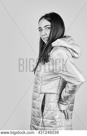 Cool Hipster Girl With Hood. Sexy Spring Brunette Girl. Fashion Brunette Model In Nice Clothes. Wear