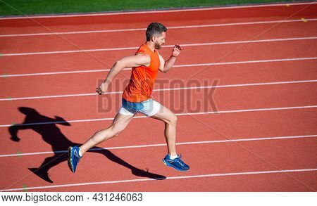 Physical Training. Athletic Guy Run. Challenge And Competition. Marathon Speed. Sprinter.