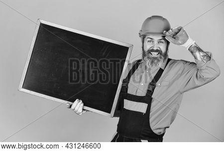 Repairman Hold Blackboard Copy Space. Handsome Repairman. Price List. Repair Company Services. Archi