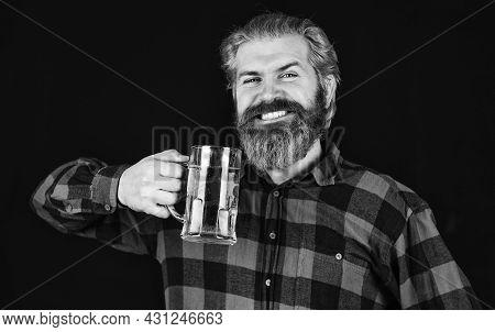 Everything You Always Wanted In Beer. Brutal Bearded Man Drink Beer. Beer Pub. Bartender Bar. Man Ho