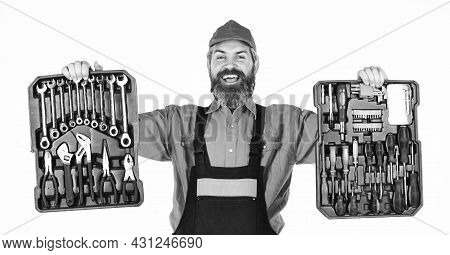 Set Of Tools. Screwdrivers Set. Man Carries Toolbox White Background. Worker Repairman Handyman Carr