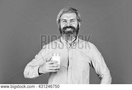 Lactose Free. Bearded Man Hold Glass Of Milk. Pasteurized Milk. Vegan Milk Concept. Vegan Milks Made