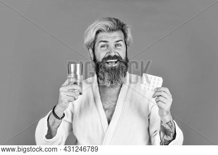 Full Of Energy. Bearded Man On Sick Leave. Healthcare Of Man Taking Medicine At Home. Handsome Man W