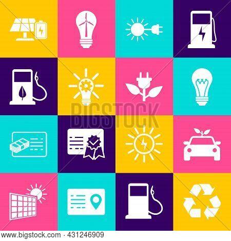 Set Recycle Symbol, Eco Car Concept Drive, Light Bulb, Sun With Electric Plug, Gear, Bio Fuel Fuelin