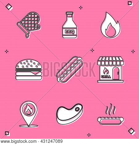 Set Oven Glove, Ketchup Bottle, Fire Flame, Burger, Hotdog Sandwich, Barbecue Shopping Building, Loc
