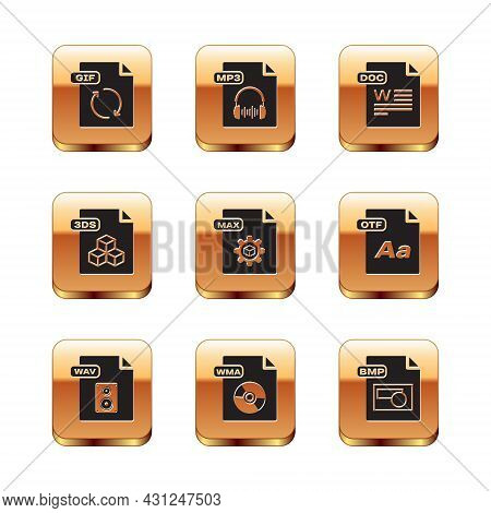 Set Gif File Document, Wav, Wma, Max, 3ds, Doc, Bmp And Mp3 Icon. Vector