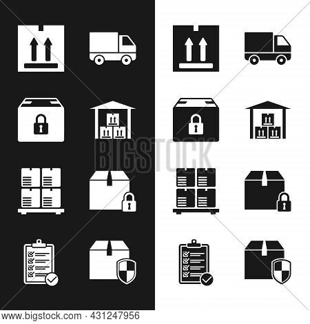 Set Warehouse, Locked Package, Cardboard Box With Traffic, Delivery Cargo Truck Vehicle, Boxes On Pa