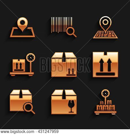 Set Cardboard Box With Traffic, Delivery Fragile Content, Scale Cardboard, Search Package, Placehold