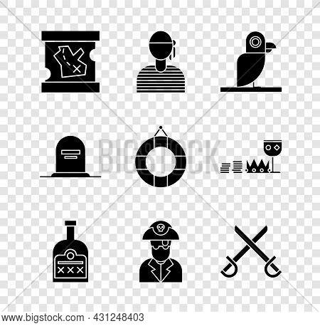 Set Pirate Treasure Map, Sailor Captain, Parrot, Alcohol Drink Rum Bottle, Crossed Pirate Swords, To