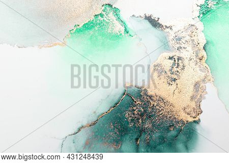 Green Gold Abstract Background Of Marble Liquid Ink Art Painting On Paper . Image Of Original Artwor