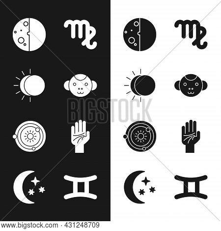 Set Monkey Zodiac, Eclipse Of The Sun, Virgo, Solar System, Palmistry Hand, Gemini And Moon Stars Ic