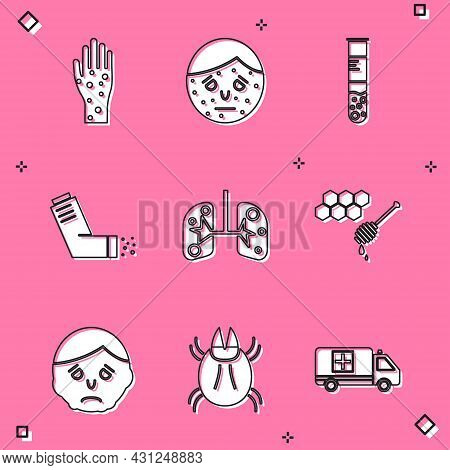 Set Hand With Psoriasis Or Eczema, Face, Test Tube Flask, Inhaler, Lungs, Honeycomb Honey Dipper, In