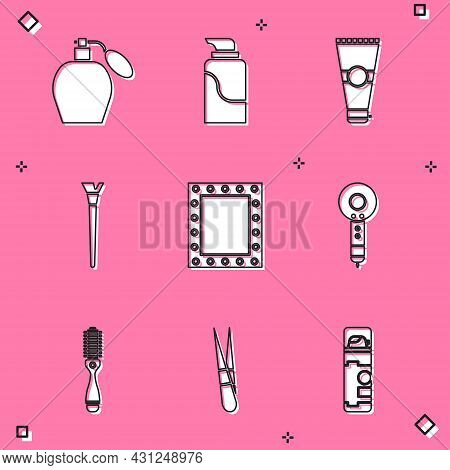 Set Perfume, Cream Cosmetic Tube, Lotion, Makeup Brush, Mirror With Lights, Hair Dryer, Hairbrush An