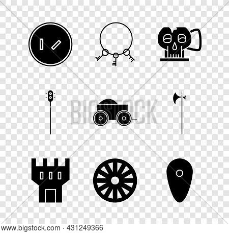 Set Round Wooden Shield, Old Keys, Cup From The Skull, Castle Tower, Wheel, Shield, Medieval Chained