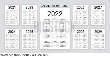 French Calendar 2022, 2023, 2024, 2025, 2026, 2027, 2028, 2029, 2021,years. France Calender Template