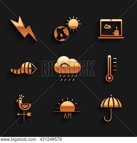 Set Cloud With Rain, Sunrise, Umbrella, Meteorology Thermometer, Rooster Weather Vane, Cone Meteorol