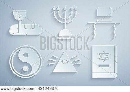 Set Masons, Orthodox Jewish Hat With Sidelocks, Yin Yang, Jewish Torah Book, Hanukkah Menorah And Fi