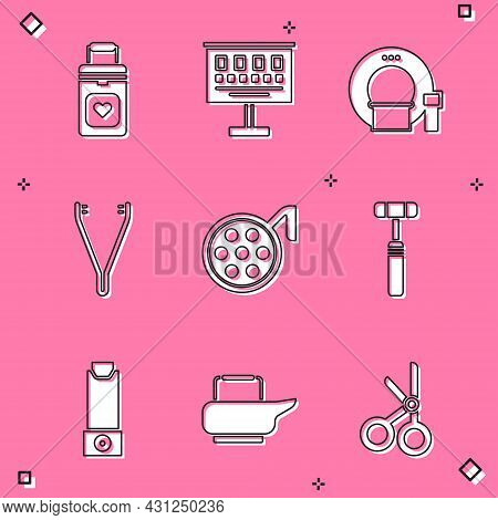 Set Organ Container, Eye Test Chart, Tomography, Medical Tweezers, Surgery Lamp, Neurology Reflex Ha