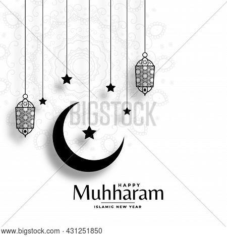 Traditional Muharram Islamic New Year Moon And Stars Background