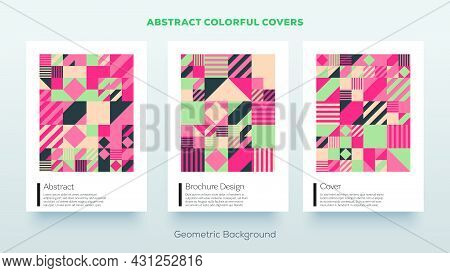 Minimal Bauhaus Pattern Design Covers Abstract Geometric Background. Simple Colorful Mockup Posters,