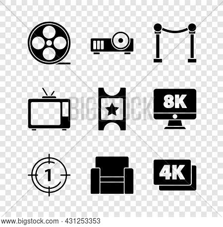 Set Film Reel, Media Projector, Rope Barrier, Old Film Movie Countdown Frame, Cinema Chair, 4k Ultra