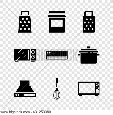 Set Grater, Jam Jar, Kitchen Extractor Fan, Whisk, Microwave Oven, And Air Conditioner Icon. Vector