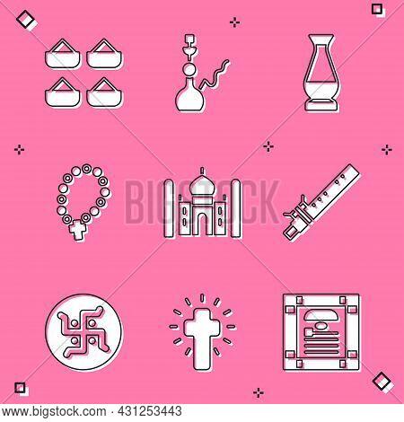 Set Indian , Hookah, Vase, Rosary Beads Religion, Taj Mahal, Bamboo Flute Indian, Hindu Swastika And