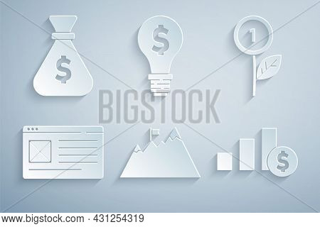 Set Mountains With Flag, Dollar Plant, Browser Window, Pie Chart And Dollar, Light Bulb And Money Ba