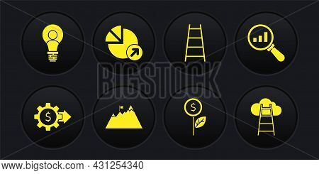 Set Gear With Dollar, Magnifying Glass And Analysis, Mountains Flag, Dollar Plant, Stair Finish, Fin
