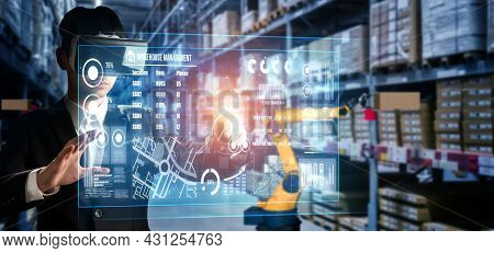 Future Virtual Reality Technology For Innovative Vr Warehouse Management . Concept Of Smart Technolo
