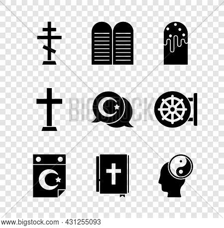 Set Christian Cross, The Commandments, Easter Cake, Star Crescent, Holy Bible Book, Yin Yang, And Ic