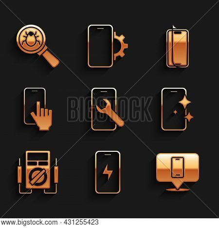 Set Mobile Service, Charging Battery, Phone Repair, Glass Screen Protector, Multimeter, And System B