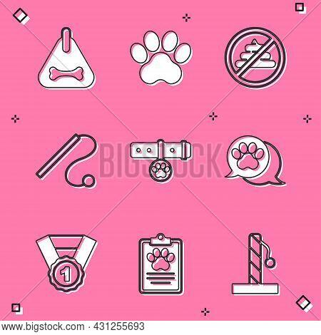 Set Dog Collar, Paw Print, No Shit, Pet Cat Toy, Collar With Name Tag, Award Symbol And Clinical Rec