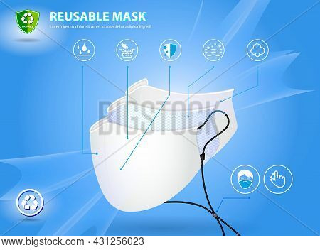 Set Of Realistic Three Layer Surgical Mask Or 3 Layer Medical Face Mask. Eps Vector