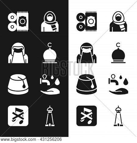 Set Muslim Mosque, Woman In Niqab, Traditional Carpet, Hijab, Turkish Hat, Wudhu, Tower Or Minaret A
