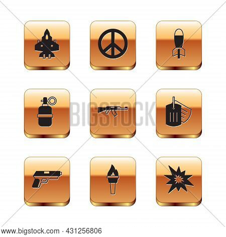 Set Jet Fighter, Pistol Or Gun, Torch Flame, Submachine, Hand Grenade, Rocket Launcher, Bomb Explosi
