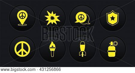 Set Peace, Police Badge, Torch Flame, Rocket Launcher, Bomb Explosion, Hand Grenade And Location Pea