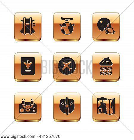 Set Parachute, Aircraft Steering Helm, Plane Propeller, Passport, Modern Pilot Helmet, World Travel