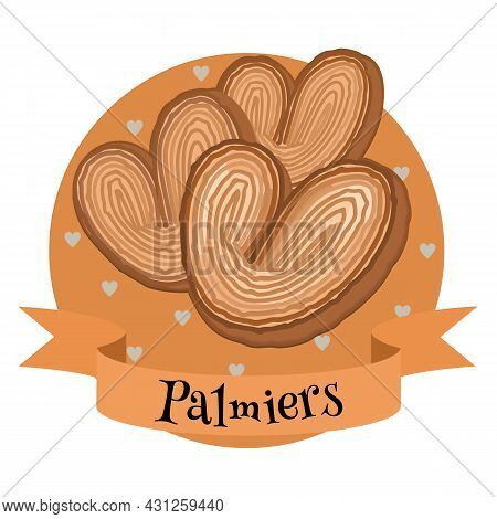French Dessert Palmiers. Colorful Cartoon Style Illustration For Cafe, Bakery, Restaurant Menu Or Lo
