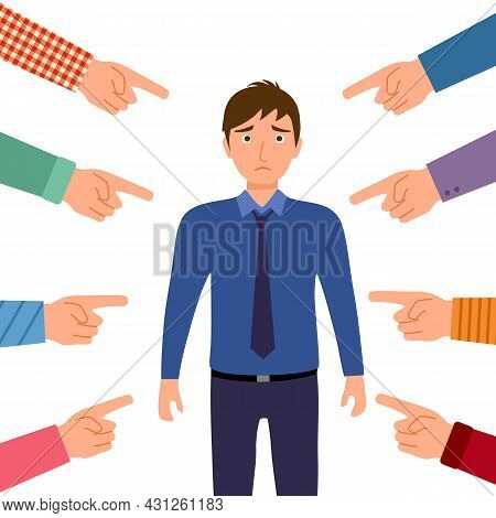 Sad Or Depressed Businessman Surrounded By Hands With Index Fingers. Accusation Guilty Concept Vecto