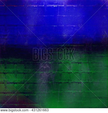 Abstract Dark Bold Blue And Green Grunge And Dirty Textured Paint Wall Background
