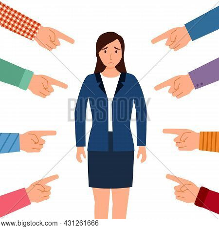 Sad Or Depressed Businesswoman Surrounded By Hands With Index Fingers. Accusation Guilty Concept Vec
