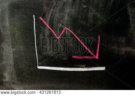 Red Color Chalk Handdrawing In Arrow Down Shape On Blackboard Or Chalkboard Background (concept Of S