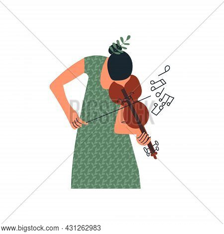 Girl Playing Violin Or Young Woman Musician With Violine And Notes. Female Character Violinist. Flow