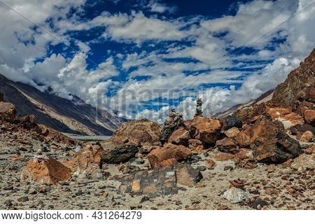 Stone cairns in Himalayas in Nubra valley, Ladakh, India