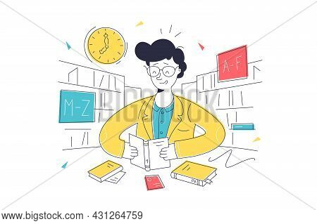 Man Read Interesting Book In Library Vector Illustration. Guy With Book Surrounded By Bookshelves Fl